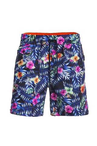 Men's blue tropical floral swim trunks