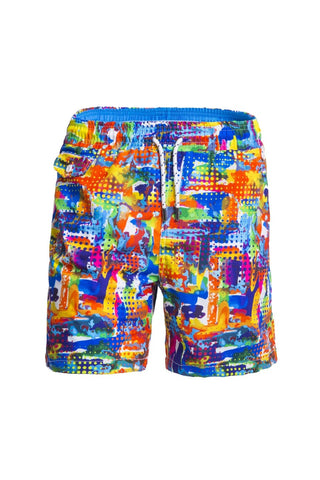 Colorful swim trunks with paint splash print design