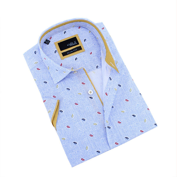 Blue  Tri-Color Paisley Design Shirt
