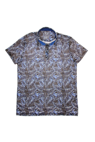 NAVY PRINT POLO SHIRT #T-1183P