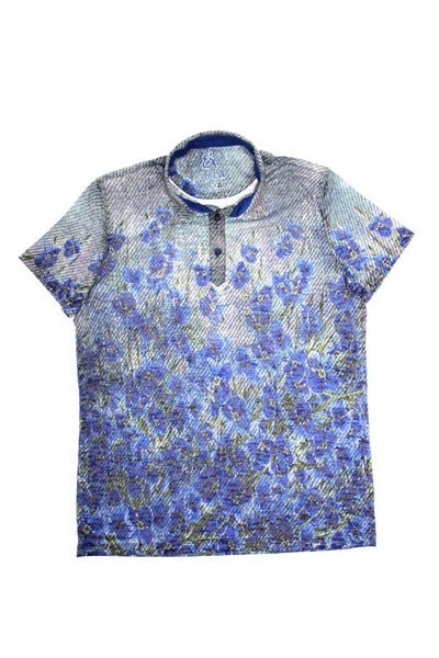 NAVY PRINT POLO SHIRT #T-1184P