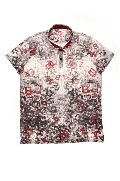 BLACK PRINT POLO SHIRT #T-1185P