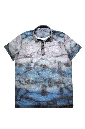 NAVY PRINT POLO SHIRT #T-1187P