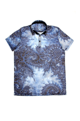 NAVY PRINT POLO SHIRT #T-1188P