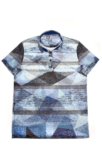 BLUE PRINT POLO SHIRT #T-1189P