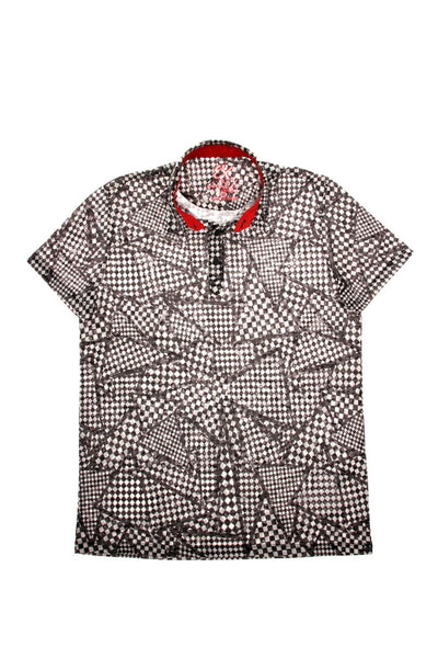 BLACK PRINT POLO SHIRT #T-1190P