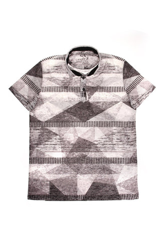 BLACK PRINT POLO SHIRT #T-1192P