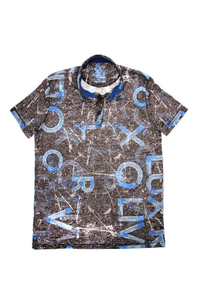BLUE PRINT POLO SHIRT #T-1193P