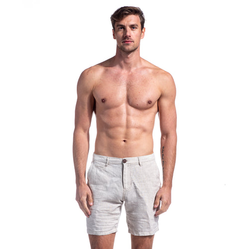 Beige Linen Slim Fit Shorts