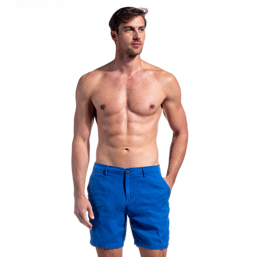 Blue Linen Slim Fit Shorts