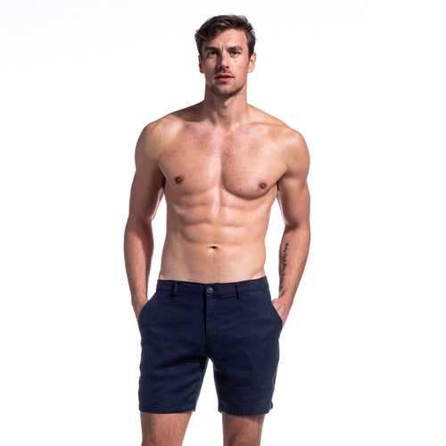 Navy Linen Slim Fit Shorts