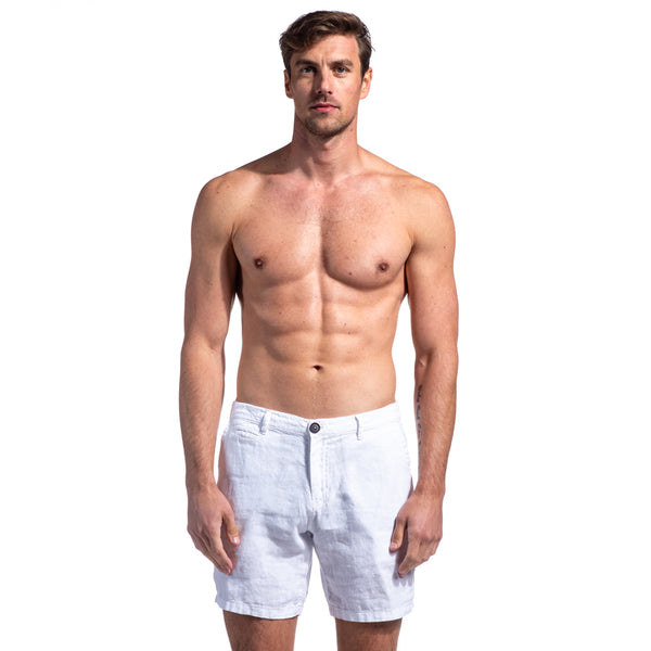 White Linen Slim Fit Shorts
