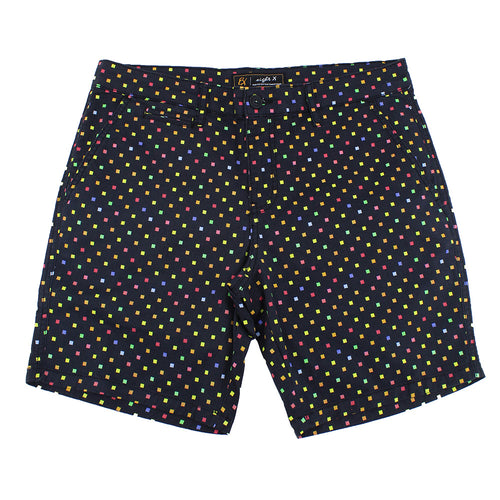 Black Colorful Squares Print Shorts