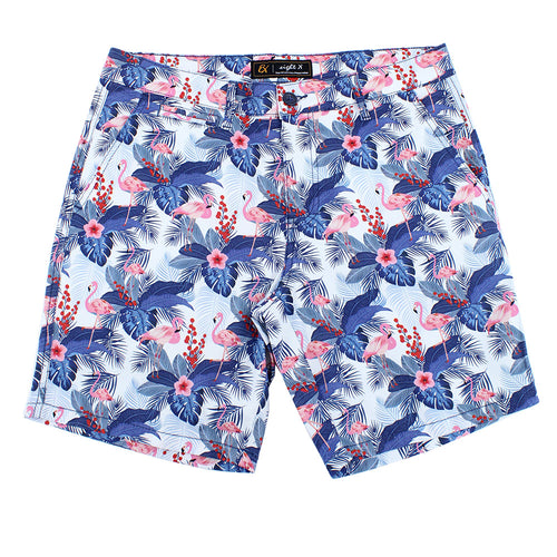 Blue Flamingo Print Shorts