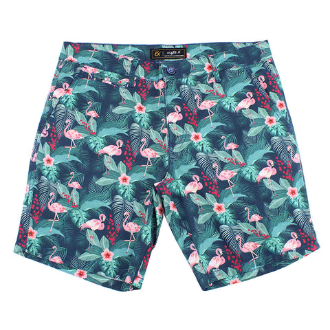 Green Flamingo Print Shorts