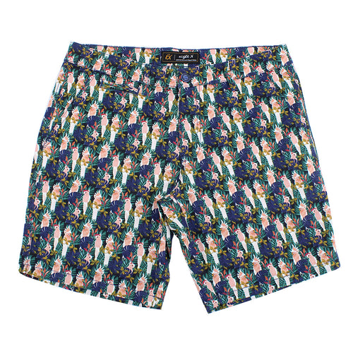 Navy Tropical Print Shorts