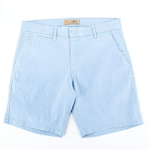 Light-blue jacquard shorts with two front slant-pockets; one front welt-pocket; and embroidered logo on front right pocket.