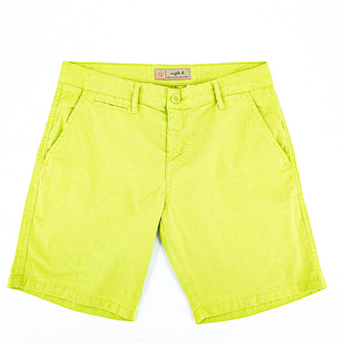 Bright-green jacquard shorts with two front slant-pockets; one front welt-pocket; and embroidered logo on front right pocket.