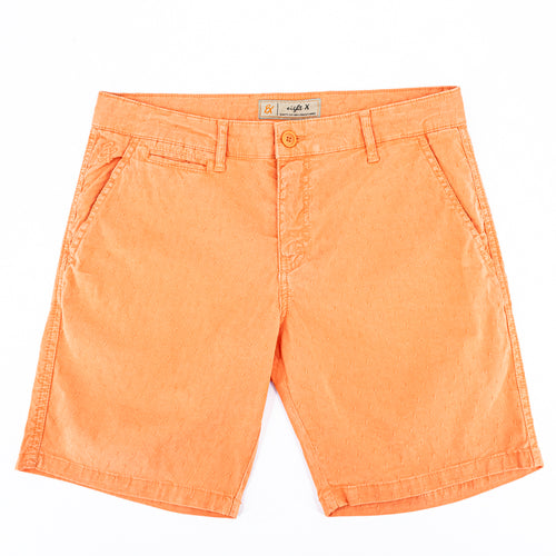 Orange  jacquard shorts with two front slant-pockets; one front welt-pocket; and embroidered logo on front right pocket.