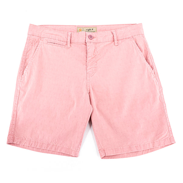 Light-pink jacquard shorts with two front slant-pockets; one front welt-pocket; and embroidered logo on front right pocket.