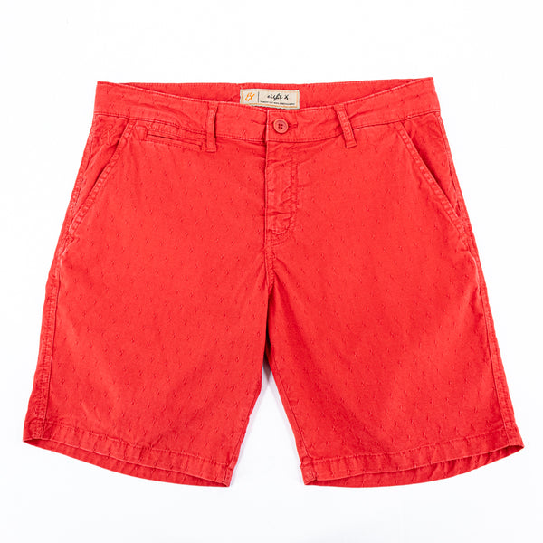Red jacquard shorts with two front slant-pockets; one front welt-pocket; and embroidered logo on front right pocket.