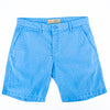 Turquoise jacquard shorts with two front slant-pockets; one front welt-pocket; and embroidered logo on front right pocket.
