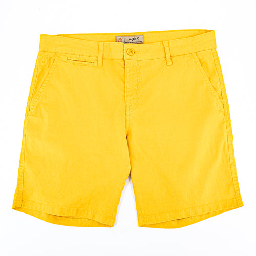 Yellow jacquard shorts with two front slant-pockets; one front welt-pocket; and embroidered logo on front right pocket.