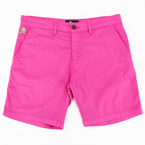 Flat-lay of fuchsia chino shorts with two front pockets; one welt pocket; and green embroidered frog mascot on right front-pocket.