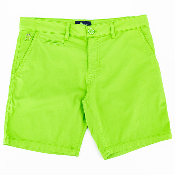 Flat-lay of bright green shorts with two front pockets; one welt pocket; and green embroidered frog mascot on right front-pocket.
