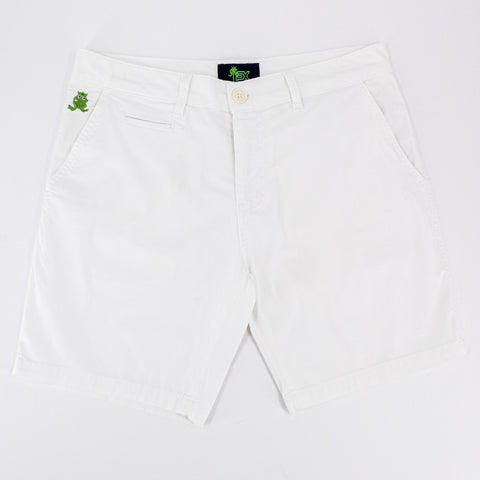 Flat-lay of white shorts with two front pockets; one welt pocket; and green embroidered frog mascot on right front-pocket.