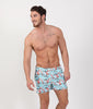 Men's aqua swim trunks with shark print