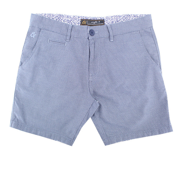 Gray Slim Fit Textured Shorts