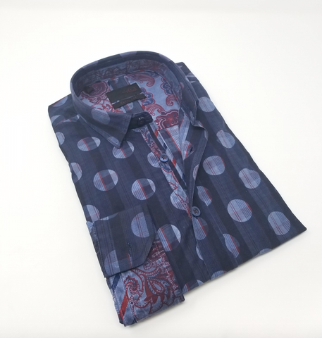 Dark Navy Digital Print Shirt With Paisley Trim #H-1831-2