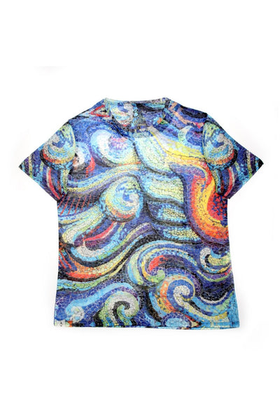 BLUE ABSTRACT  PRINT T-SHIRT #T-1172