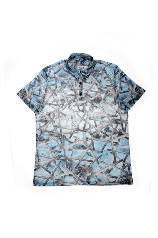 BLUE PRINT POLO SHIRT #T-1176P