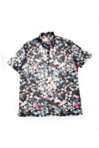GREY PRINT POLO SHIRT #T-1177P