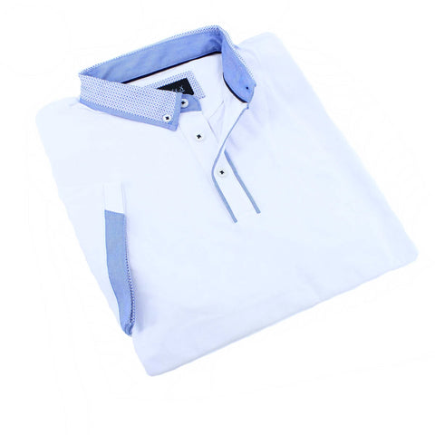 White Polo Shirt With Trim #T-6005