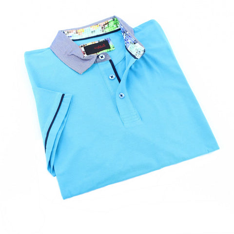 Turquoise Polo Shirt With Trim #T-6006