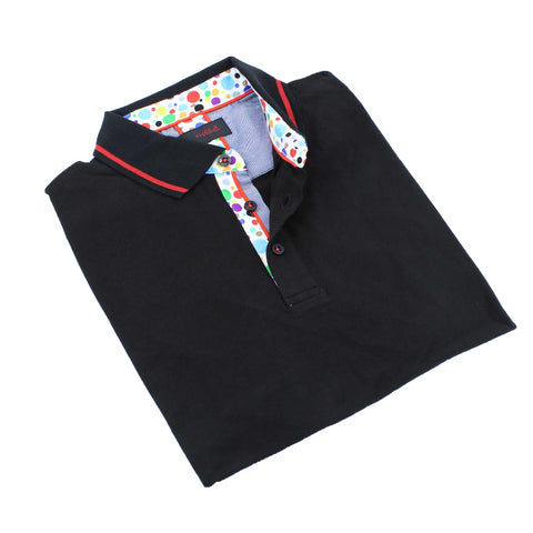 Black Polo Shirt With Colorful Trim #T-6007