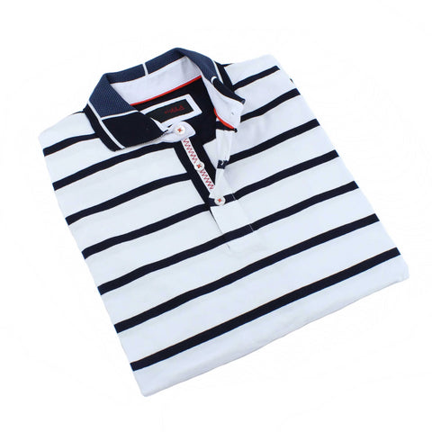 White Striped Polo With Contrasting Collar #T-6009