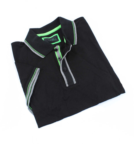 Black Polo With Gray And Green Trim #T-6014