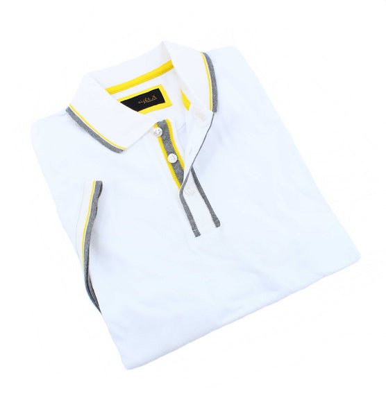 White Polo With Gray And Yellow Trim #T-6014