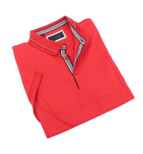 Red Polo With Colorful Trim #T-6015