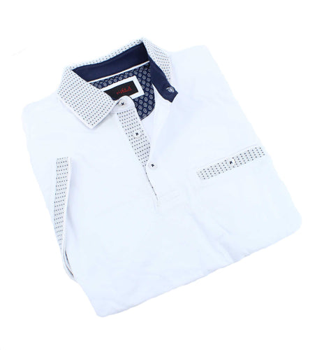 White Pocket Polo With Dot Trim #T-6016