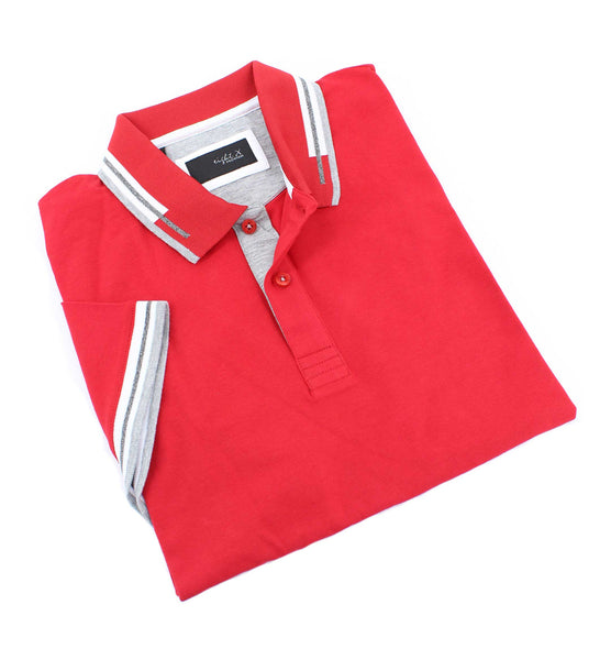 Red Polo With White And Gray Trim #T-7001