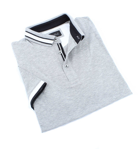 Gray Polo With White And Black Trim #T-7002