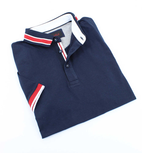 Navy Polo With White And Red Trim #T-7002