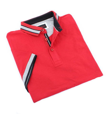 Red Polo With Gray And Black Trim #T-7002