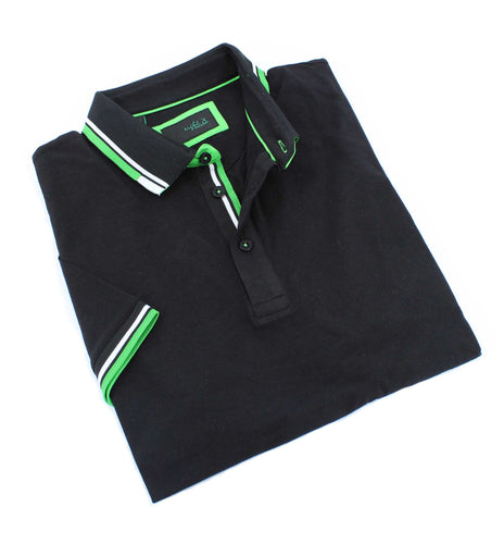 Black Polo With White And Green Trim #T-7003