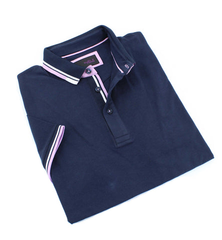 Navy Polo With White And Pink Trim #T-7003